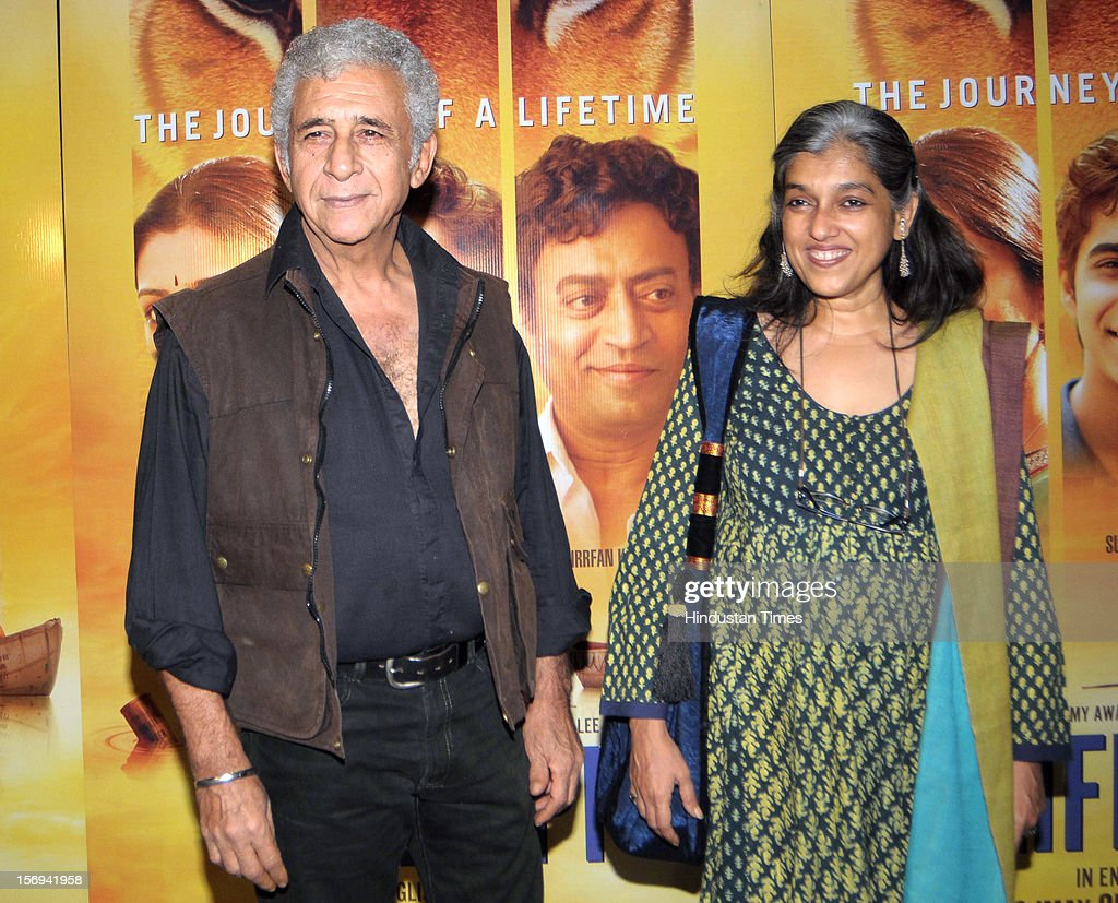 Actors Naseeruddin Shah with Ratna Pathak Shah during the special screening of 'Life of PI' movie at PVR Juhu on November 21, 2012, in Mumbai, India. The film opens on November 13, 2012.