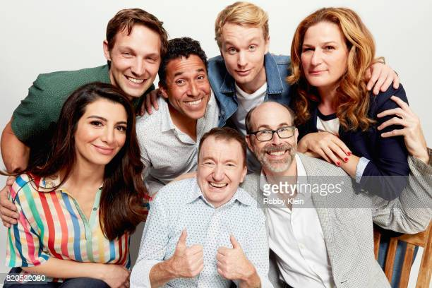 Actors Nasim Pedrad Michael Cassidy Oscar Nunez Ken Hall Bjorn Gustafsson Brian Huskey and Ana Gasteyer from TBS' 'People of Earth' pose for a...