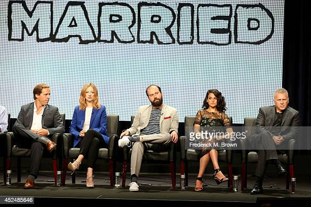 Actors Nat Faxon Judy Greer Brett Gelman Jenny Slate and Paul Reiser speak onstage at the 'Married' panel during the FX Networks portion of the 2014...