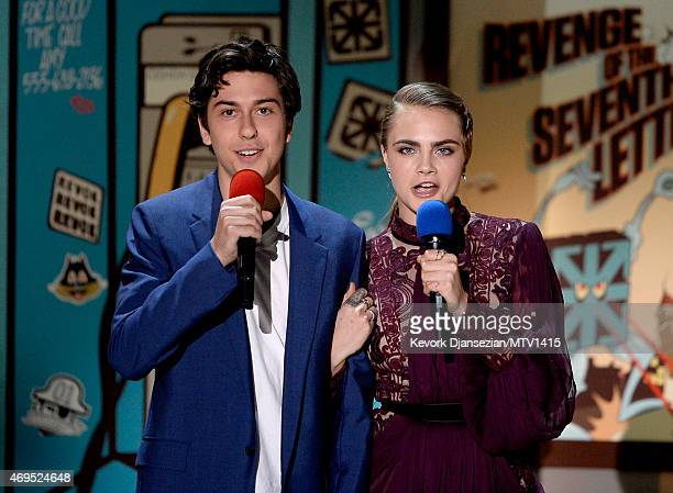 Actors Nat Wolff and Cara Delevingne speak onstage during The 2015 MTV Movie Awards at Nokia Theatre LA Live on April 12 2015 in Los Angeles...
