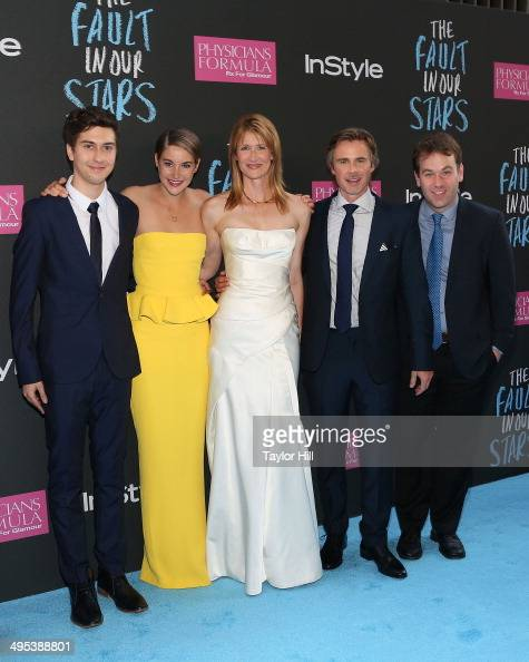 Actors Nat Wolff Shailene Woodley Laura Dern Sam Trammell and Mike Birbiglia attend 'The Fault In Our Stars' premiere at Ziegfeld Theater on June 2...