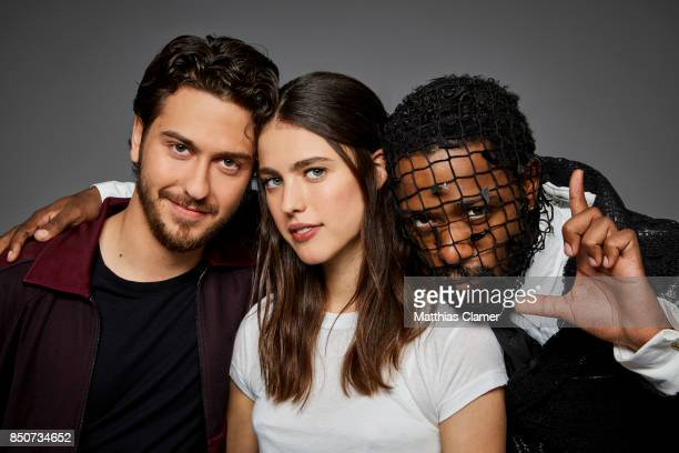 Actors Nat Wollf Margaret Qualley and Lakeith Stanfield from Death Note are photographed for Entertainment Weekly Magazine on July 20 2017 at Comic...