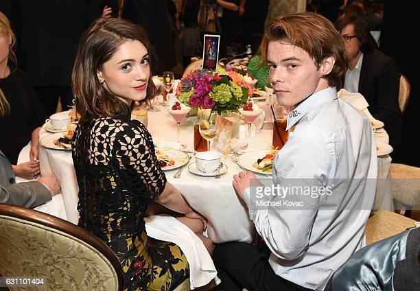 Actors Natalia Dyer and Charlie Heaton attend the 17th annual AFI Awards at Four Seasons Los Angeles at Beverly Hills on January 6 2017 in Los...