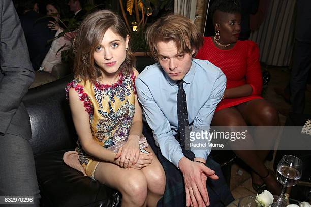 Actors Natalia Dyer and Charlie Heaton attend the Entertainment Weekly Celebration of SAG Award Nominees sponsored by Maybelline New York at Chateau...