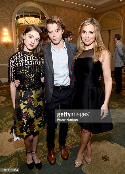 Actors Natalia Dyer Charlie Heaton and Cara Buono attend the 17th annual AFI Awards at Four Seasons Los Angeles at Beverly Hills on January 6 2017 in...