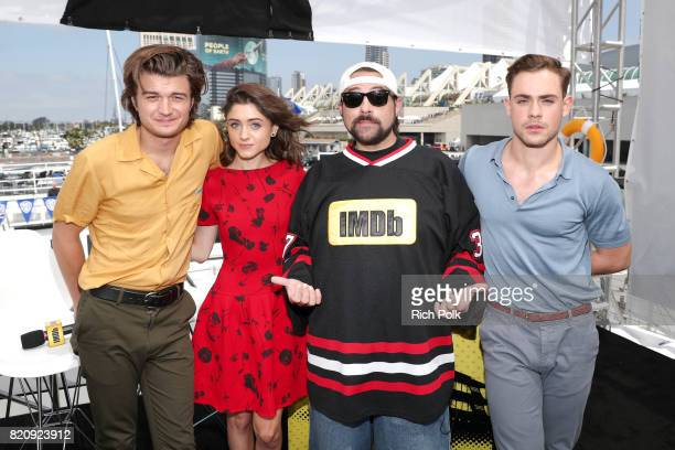 Actors Natalia Dyer Joe Keery host Kevin Smith and actor Dacre Montgomery on the #IMDboat at San Diego ComicCon 2017 at The IMDb Yacht on July 22...