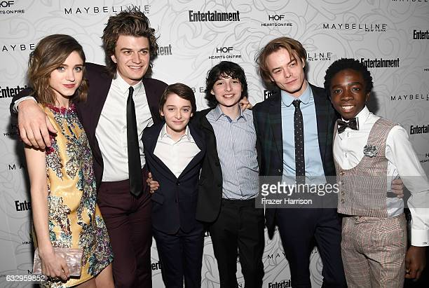 Actors Natalia Dyer Joe Keery Noah Schnapp Finn Wolfhard Matthew Modine Charlie Heaton and Caleb McLaughlin attend the Entertainment Weekly...