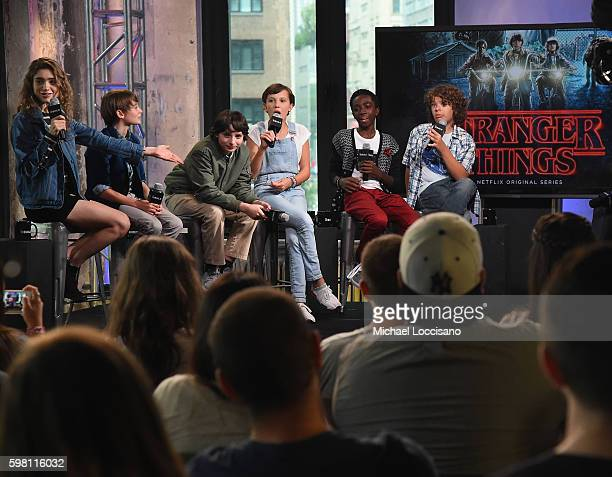 Actors Natalia Dyer Noah Schnapp Finn Wolfhard Millie Bobby Brown Caleb McLaughlin and Gaten Matarazzo of 'Stranger Things' attend the BUILD Series...