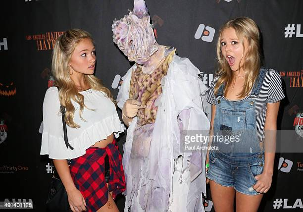Actors Natalie Alyn Lind and Emily Alyn Lind attend the 7th Annual LA Haunted Hayride at Griffith Park Zoo on October 4 2015 in Los Angeles California
