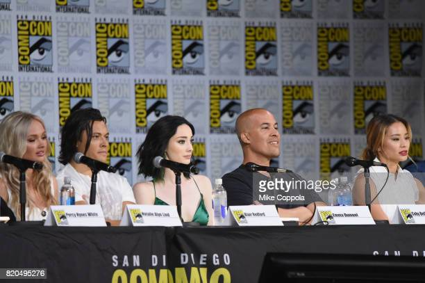 Actors Natalie Alyn Lind Blair Redford Emma Dumont Coby Bell and Jamie Chung onstage at ComicCon International 2017 'The Gifted' Extended Sneak Peek...