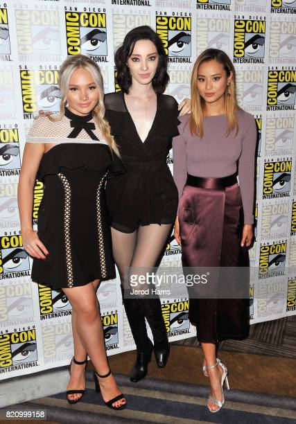 Actors Natalie Alyn Lind Emma Dumont and Jamie Chung at 'The Gifted' Press Line during ComicCon International 2017 at Hilton Bayfront on July 22 2017...