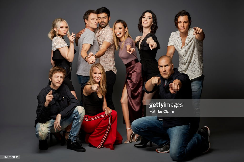 Actors (clockwise) Natalie Alyn Lind, Stephen Moyer, Sea Teale, Jamie Chung, Emma Dumont, Blair Redford, Coby Bell, Amy Acker and Percy Hynes White from The Gifted are photographed for Entertainment Weekly Magazine on July 22, 2017 at Comic Con in San Diego, California. PUBLISHED