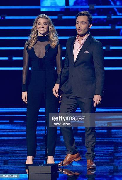 Actors Natalie Dormer and Ed Westwick speak onstage during the People's Choice Awards 2016 at Microsoft Theater on January 6 2016 in Los Angeles...