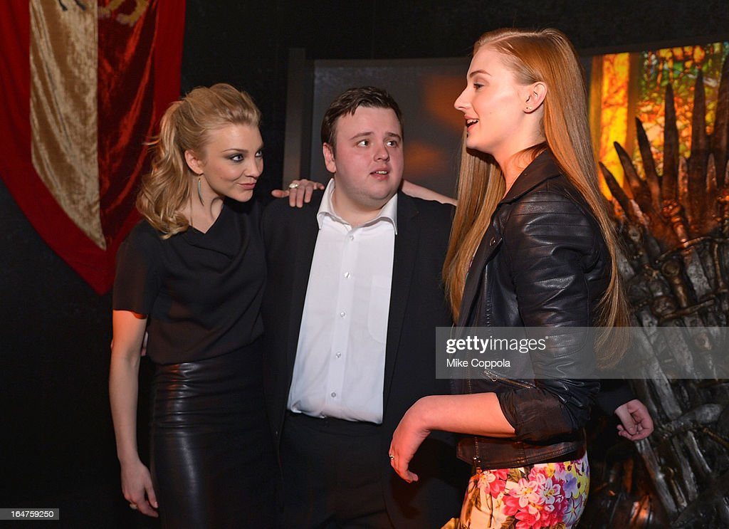 Actors <a gi-track='captionPersonalityLinkClicked' href=/galleries/search?phrase=Natalie+Dormer&family=editorial&specificpeople=817757 ng-click='$event.stopPropagation()'>Natalie Dormer</a>, John Bradley, and Sophie Turner attend 'Game Of Thrones' The Exhibition New York Opening at 3 West 57th Avenue on March 27, 2013 in New York City.