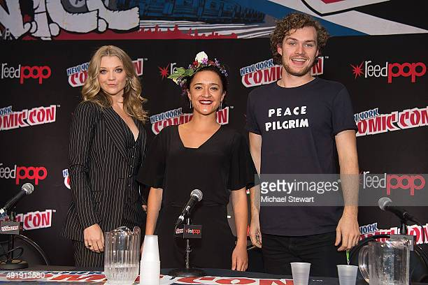 Actors Natalie Dormer Keisha CastleHughes and Finn Jones attend Game of Thrones A Panel of Ice and Fire during New York ComicCon Day 1 at The Jacob K...