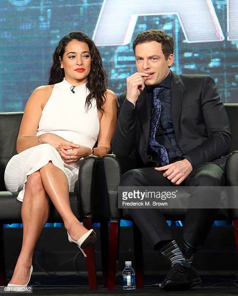 Actors Natalie Martinez and Justin Kirk of the television show 'APB' speak onstage during the FOX portion of the 2017 Winter Television Critics...
