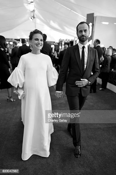 Actors Natalie Portman and choreographer Benjamin Millepied attends The 23rd Annual Screen Actors Guild Awards at The Shrine Auditorium on January 29...