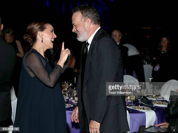 Actors Natalie Portman and Tom Hanks attend the 28th Annual Palm Springs International Film Festival Film Awards Gala at the Palm Springs Convention...