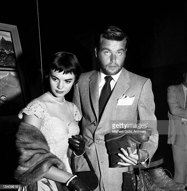 Actors Natalie Wood and Robert Wagner attend a Paramount Ice Cream Party on July 23 1956 in Los Angeles California