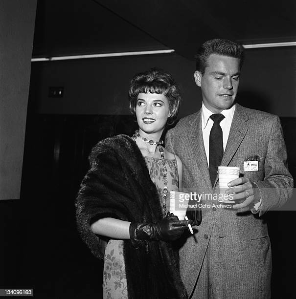 Actors Natalie Wood and Robert Wagner attend the Ice Follies in 1958 in Los Angeles California