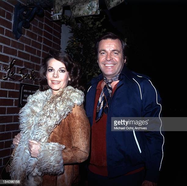 Actors Natalie Wood and Robert Wagner outside La Scala restaurant in 1980 in Beverly Hills California