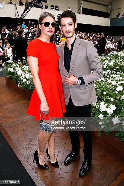 Actors Natasha Andrews and Pierre Niney attend the Dior Homme Menswear Spring/Summer 2016 show as part of Paris Fashion Week on June 27 2015 in Paris...