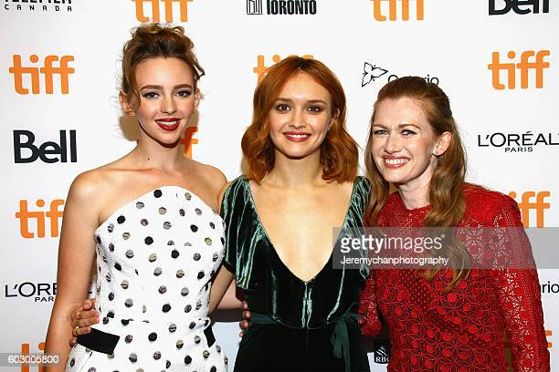 Actors Natasha Bassett Olivia Cooke and Mireille Enos attend the 'Katie Says Goodbye' premiere held at TIFF Bell Lightbox during the Toronto...