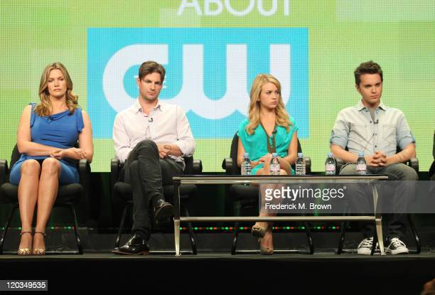 Actors Natasha Henstridge Gale Harold Britt Robertson and Thomas Dekker speak during 'The Secret Circle' panel during the CW portion of the 2011...