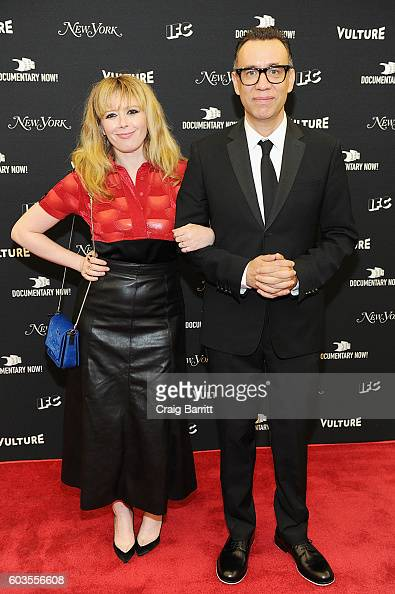 Actors Natasha Lyonne and Fred Armisen attend as IFC New York Magazine and Vulture host the premiere of 'Documentary Now' at the New Museum on...