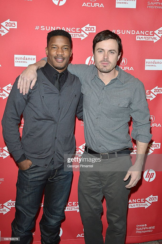 Actors <a gi-track='captionPersonalityLinkClicked' href=/galleries/search?phrase=Nate+Parker+-+Actor&family=editorial&specificpeople=14598637 ng-click='$event.stopPropagation()'>Nate Parker</a> and <a gi-track='captionPersonalityLinkClicked' href=/galleries/search?phrase=Casey+Affleck&family=editorial&specificpeople=1539212 ng-click='$event.stopPropagation()'>Casey Affleck</a> attend the 'Aint Them Bodies Saints' premiere at Eccles Center Theatre during the 2013 Sundance Film Festival on January 20, 2013 in Park City, Utah.