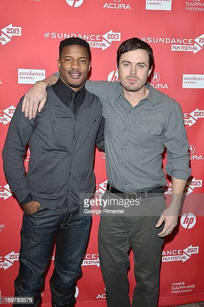 Actors Nate Parker and Casey Affleck attend the 'Aint Them Bodies Saints' premiere at Eccles Center Theatre during the 2013 Sundance Film Festival on...