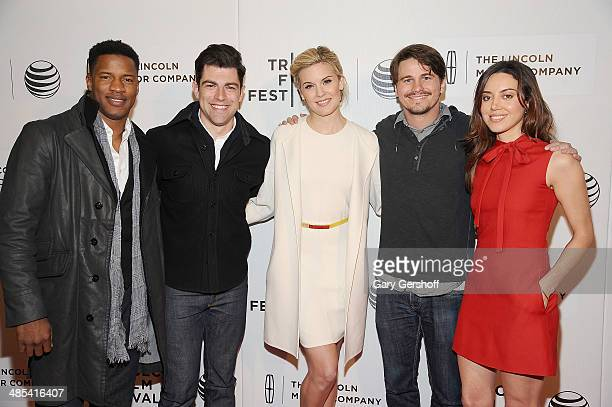 Actors Nate Parker Max Greenfield Maggie Grace Jason Ritter and Aubrey Plaza attend 'About Alex' screening during the 2014 Tribeca Film Festival at...