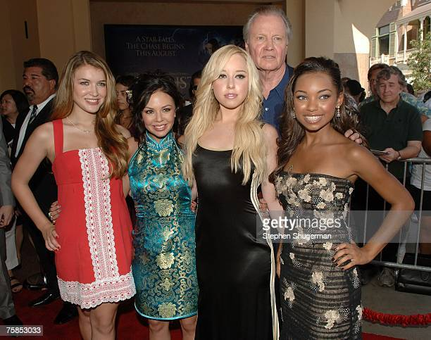 Actors Nathalia Ramos Janel Parrish Skyler Shaye Jon Voight and Logan Browning attend Lions Gate Films Premiere of 'Bratz The Movie' at Pacific...