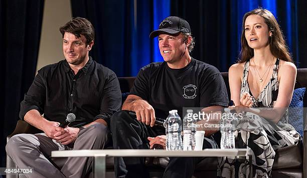 Actors Nathan Fillion Adam Baldwin and Summer Glau attend Wizard World Comic Con Chicago 2015 Day 3 at Donald E Stephens Convention Center on August...