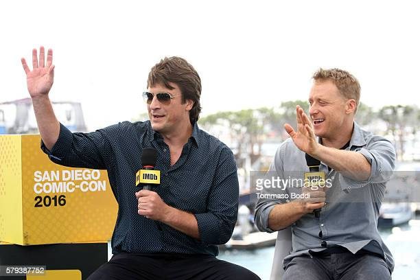 Actors Nathan Fillion and Alan Tudyk of Con Man attend the IMDb Yacht at San Diego ComicCon 2016 Day Three at The IMDb Yacht on July 23 2016 in San...