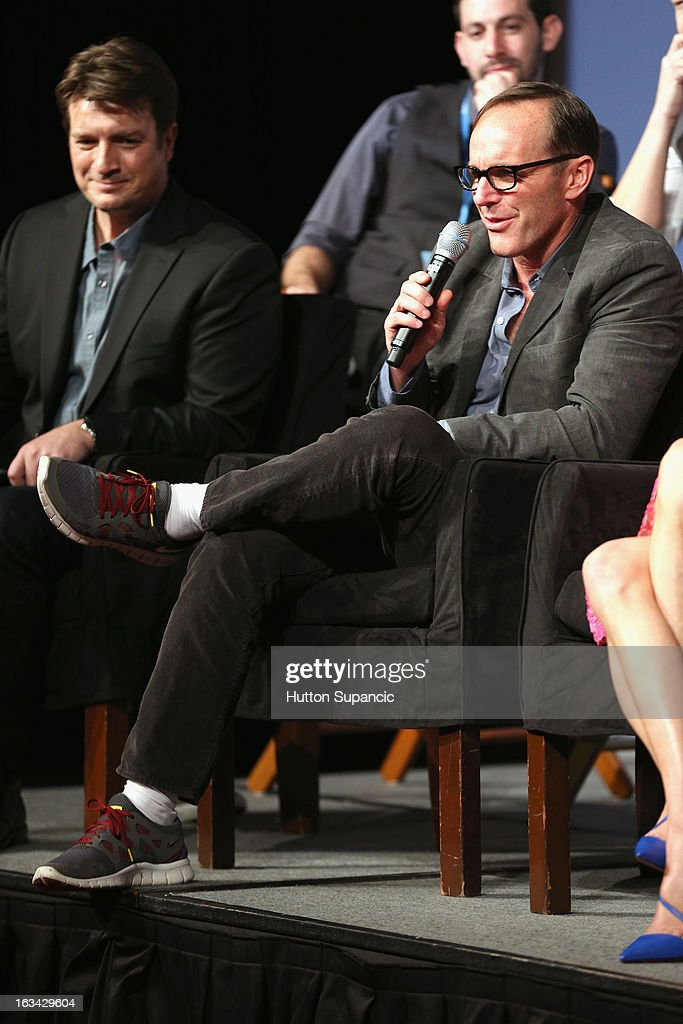 Actors Nathan Fillion and Clark Gregg speak onstage at the Much Ado About Much Ado Panel during the 2013 SXSW Music, Film + Interactive Festival at Austin Convention Center on March 9, 2013 in Austin, Texas.