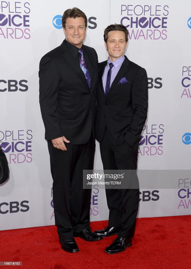 Actors Nathan Fillion (L) and Seamus Dever attend the 39th Annual People's Choice Awards at Nokia Theatre L.A. Live on January 9, 2013 in Los Angeles, California.