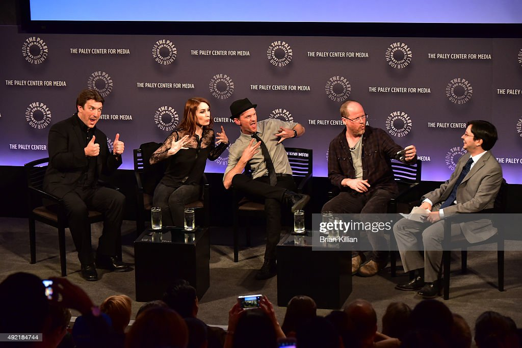 Actors Nathan Fillion Felicia Day Neil Patrick Harris director Joss Whedon and moderator Dave Itzkoff attend the PaleyFest New York 2015 'Dr...