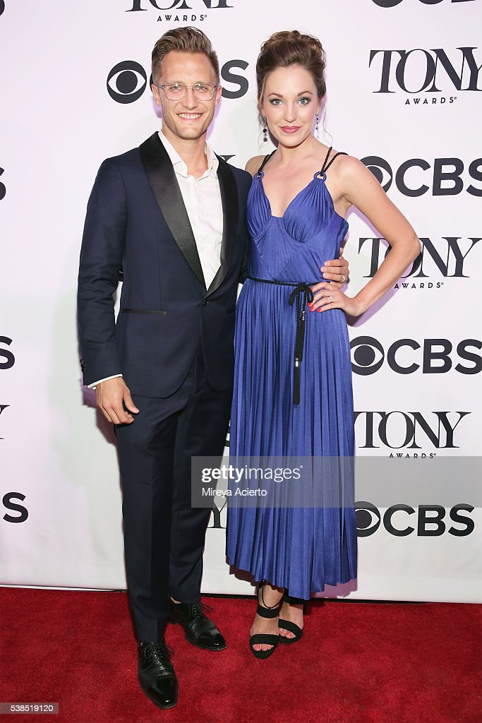 Actors Nathan Johnson and Laura Osnes attend the 2016 Tony Honors Cocktail Party at The Diamond Horseshoe on June 6 2016 in New York City