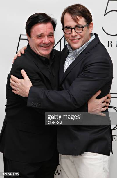 Actors Nathan Lane and Matthew Broderick pose backstage following Victor Garber's performance at 54 Below on August 20 2012 in New York City