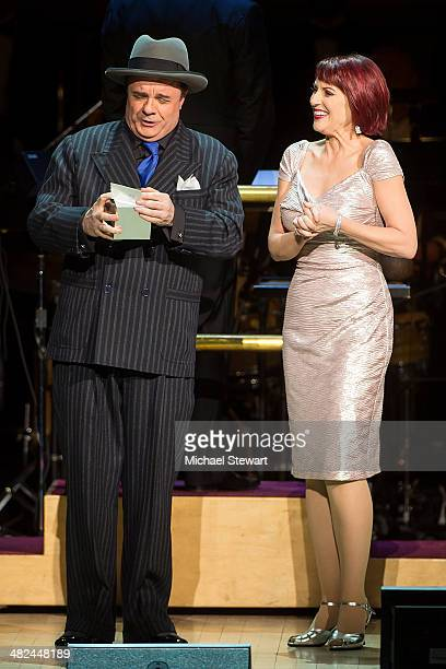 Actors Nathan Lane and Megan Mullally perform during 'Guys And Dolls' at Carnegie Hall on April 3 2014 in New York City