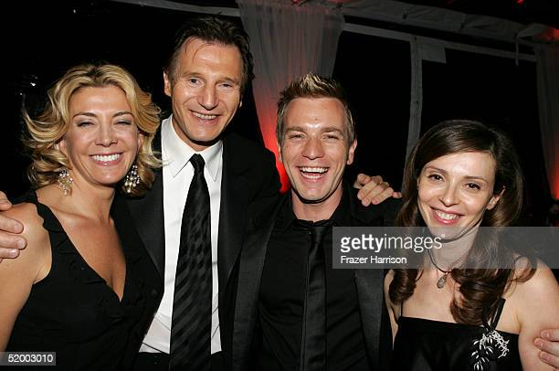 Actors Natscha Richardson Liam Neeson Ewan McGregor and wife Eve Mavrakis pose at the Fox Golden Globe After Party at the Beverly Hilton Hotel on...