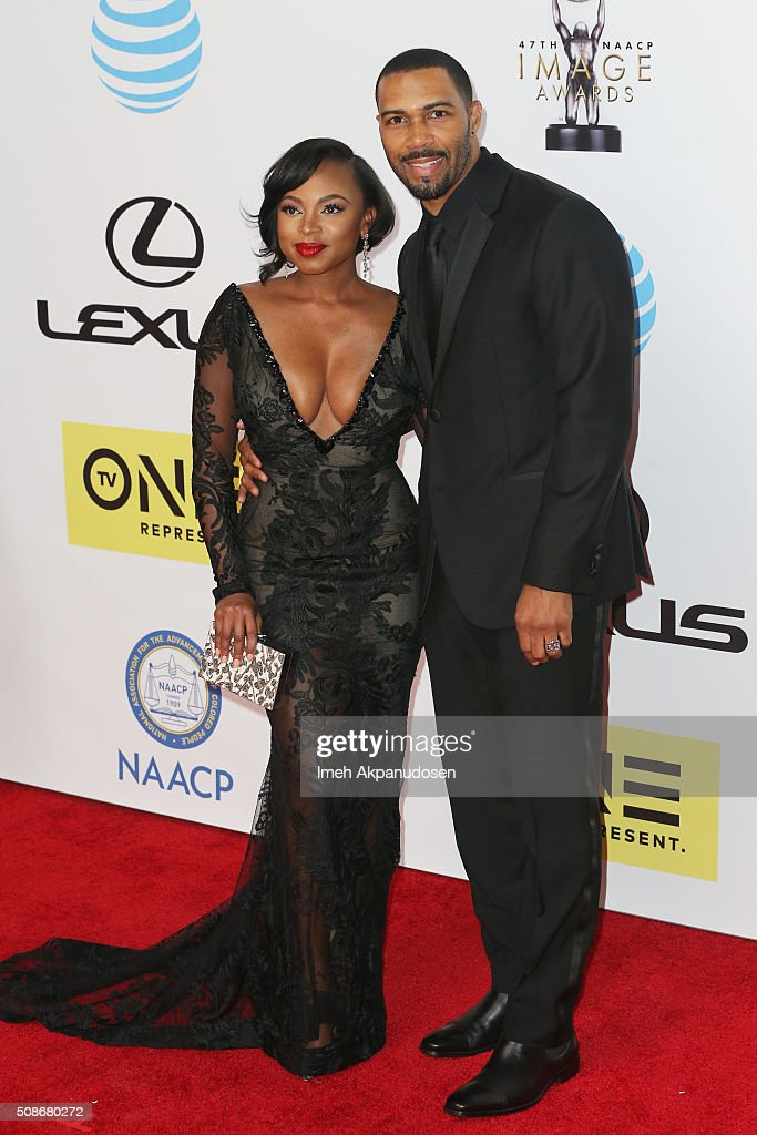 Actors Naturi Naughton (L) and Omari Hardwick attend the 47th NAACP Image Awards presented by TV One at Pasadena Civic Auditorium on February 5, 2016 in Pasadena, California.