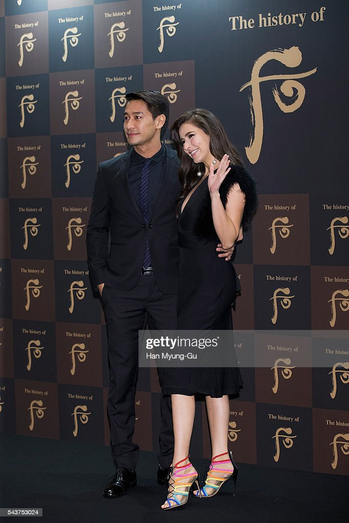 Actors Nawat Kulrattanarak and Sririta Jensen from Thailand attend the photocall for the LG Household and Health Care 'The History Of Whoo' Launch Party at Four Seasons Hotel on June 30, 2016 in Seoul, South Korea.