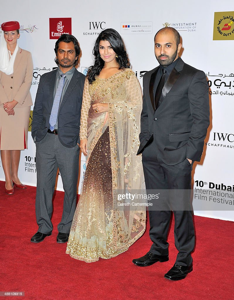 Actors Nawazuddin Siddiqui, Nimrat Kaur and director Ritesh Batra attend the 'Lunchbox' premiere during day six of the 10th Annual Dubai International Film Festival held at the Madinat Jumeriah Complex on December 11, 2013 in Dubai, United Arab Emirates.