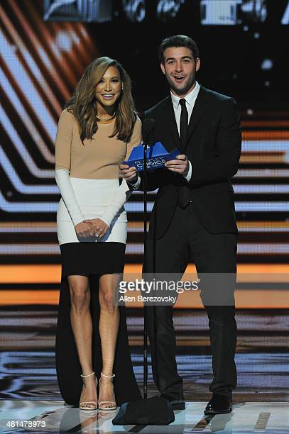 Actors Naya Rivera and James Wolk speak onstage at The 40th Annual People's Choice Awards show at Nokia Theatre LA Live on January 8 2014 in Los...