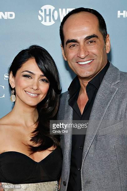 Actors Nazanin Boniadi and Navid Negahban attend the Secrets of Homeland a panel discussion of the SHOWTIME hit series 'Homeland' at the Sheraton...