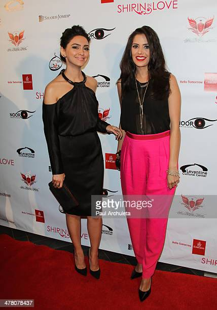 Actors Nazanin Boniadi and Sheetal Sheth attend the premiere of 'Shirin In Love' at Avalon on March 11 2014 in Hollywood California