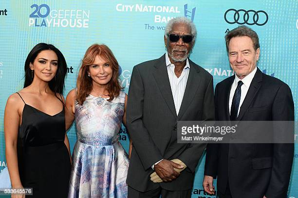 Actors Nazanin Boniadi Roma Downey Morgan Freeman and Bryan Cranston attend Backstage at the Geffen at Geffen Playhouse on May 22 2016 in Los Angeles...