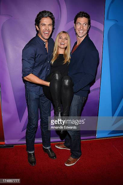 Actors Neal Bledsoe Spencer Grammer and Pablo Schreiber arrive at the 2013 Television Critics Association's Summer Press Tour NBC Party at The...